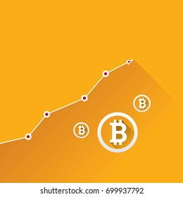 vector bitcoin growth graph on orange background. Bitcoin hype concept vector illustration with blank space for text