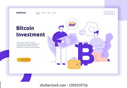Vector bitcoin investment modern flat line illustration with big trendy people. Financial strategy website banner design concept.