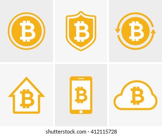Vector bitcoin logo and icon  design elements, badges, labels.