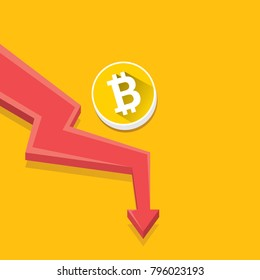 vector bitcoin market crash graph on orabge background. Bitcoin hype concept vector illusrtation with blank space fo text. depreciation of bitcoin. Bitcoin's Price Drops