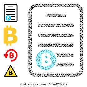 Vector bitcoin pricelist icon covid-2019 mosaic. Bitcoin pricelist mosaic is designed with tiny covid pathogen elements. Abstraction is combined for health care projects.