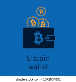 Vector bitcoin wallet with coins, cryptocurrency in the wallet. Bitcion coins in the wallet vector illustration