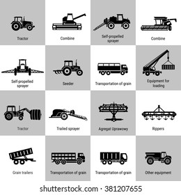 vector black agricultural transport icons set on white. Agricultural Machinery collection - vector. Illustration of growing and harvesting crops. Equipment for agriculture.