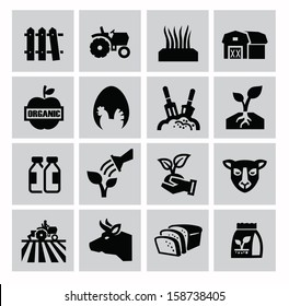 vector black agriculture and farming icons set