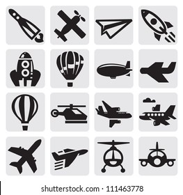 vector black airplane icon set on gray