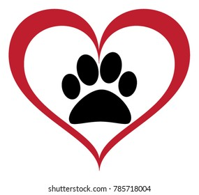 Vector of a black animal pawprint in a red lined heart on white background to be uses as a logo or illustration