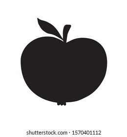 Vector black apple silhouette isolated on white background