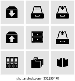 Vector black archive icon set.