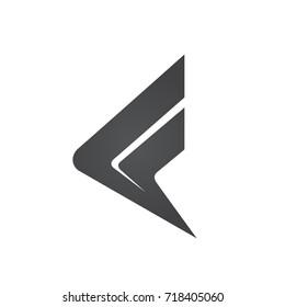 Vector Black Arrow Initial F Logo