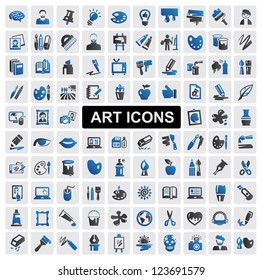 vector black art icons set on gray