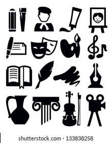 vector black arts icon set on gray