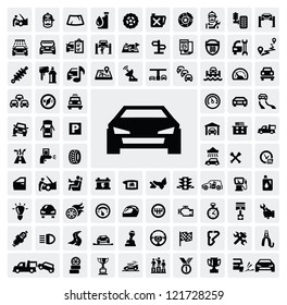 vector black auto icons set on gray