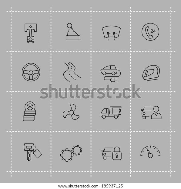 vector black auto icons set on gray