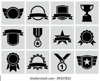 Vector black award icons.