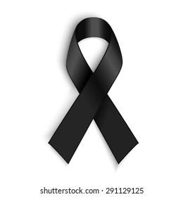 Vector Black awareness ribbon on white background. Mourning and melanoma support symbol.