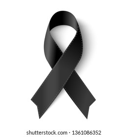 Vector Black awareness ribbon with stitch on white background for Mourning  symbol