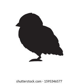 Vector black baby chick silhouette isolated on white background