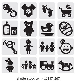 vector black baby icons set on gray