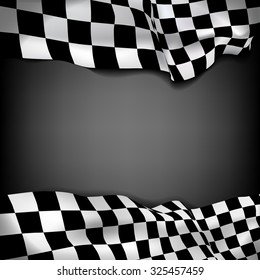 Vector black background with checkered flag and space for your text inside