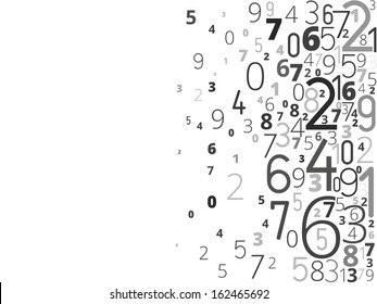 Vector black background from different numbers typography from right