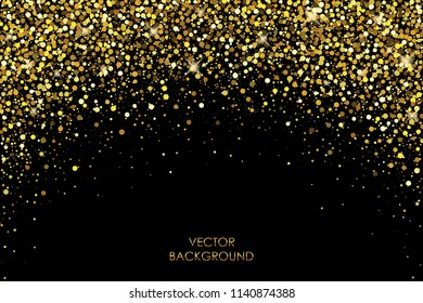 Vector black background with gold glitter