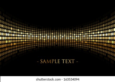 Vector black background with gold lights with space for your text