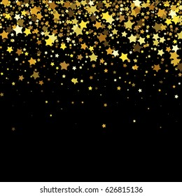 Vector black background with gold stars.