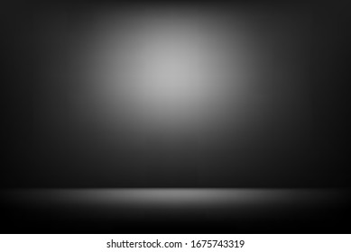 Vector of black background with spotlight to wall and ground for your product backdrop concept