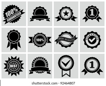 Vector black badges, certificates and seal icons.