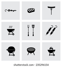 Vector black barbecue icon set on grey background