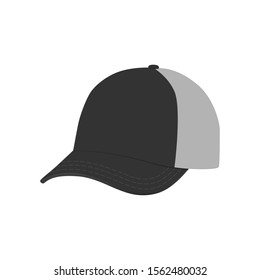 Vector Black baseball cap. Empty hat mockup, headwear caps in back