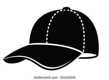 vector black Baseball cap on white background
