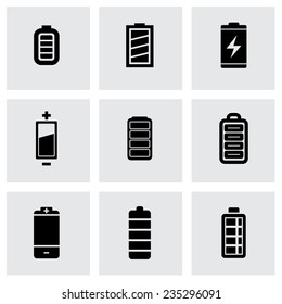 Vector black batery icon set on grey background