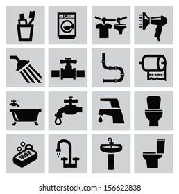 vector black bathroom icons sey on gray
