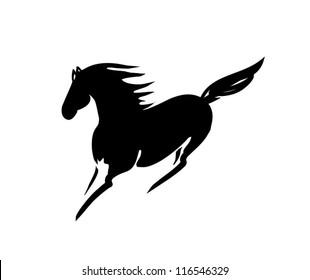 vector black beautiful horse