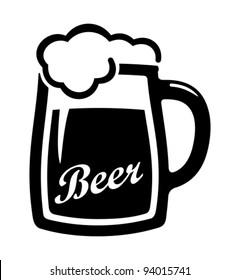 Vector black beer icon.
