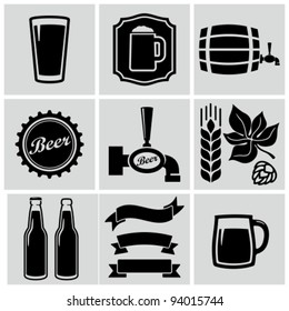 Vector black beer icons set.