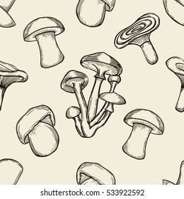 Vector black and beige ink seamless pattern with artistically drawn mushrooms. Modern illustration. Can be used for wallpaper, pattern fills, web page, surface textures, textile print, wrapping paper.