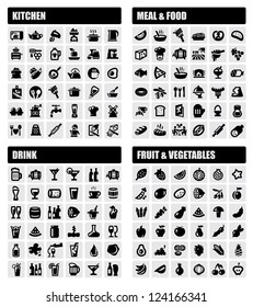 vector black beverage, food, kitchen icons set on gray