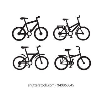vector black bicycle icon on white background