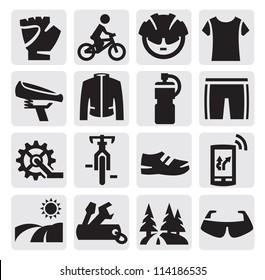 vector black biking icons set on gray