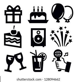 vector black birthday icon set on white background