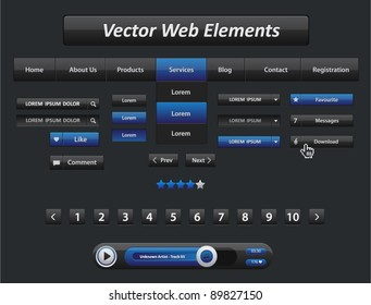 Vector black and blue web elements and audio player with control navigation panel