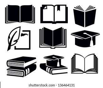 vector black book icons set on white