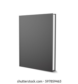 Vector black book template, realistic design, isolated on white