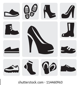 vector black boots men and women icons set on gray