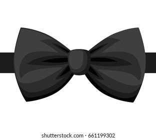 Vector Black Bow Tie isolated on white.