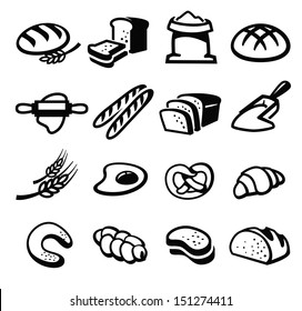 vector black bread icon set on white