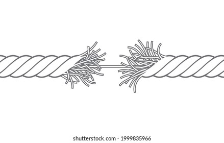 Vector black broken rope. Torn rope. Isolated on white background