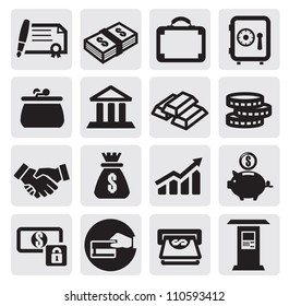 vector black business financial icons set on gray